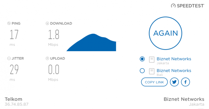 Contoh hasil mengecek kecepatan internet kami dengan Biznet
