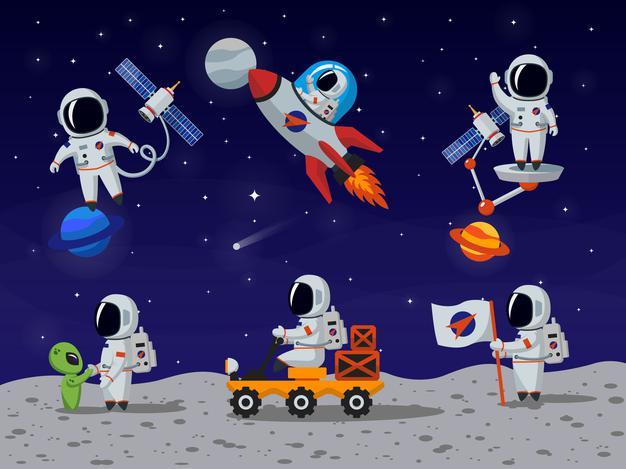 Bahan Mentahan Gambar Astronot PNG