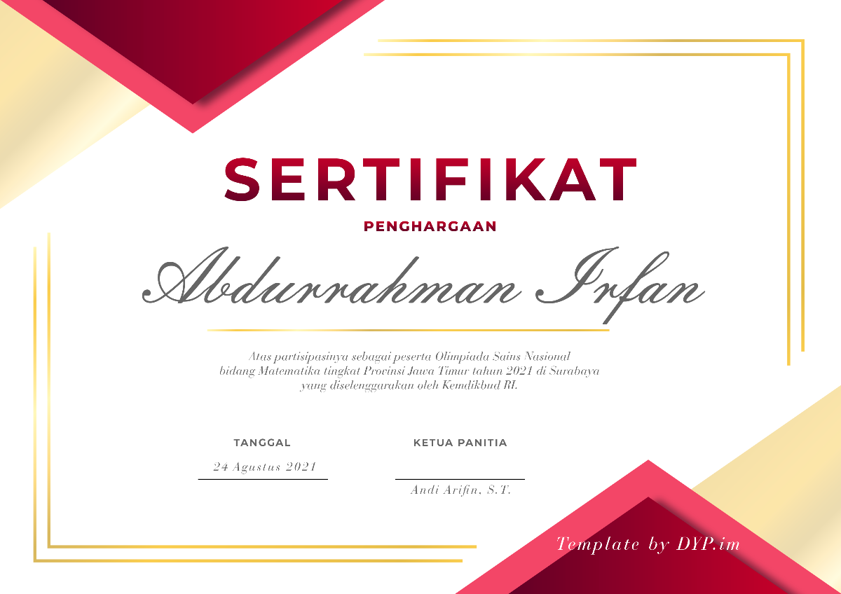 Template Sertifikat Penghargaan Bahasa Indonesia PSD bt DYP dot IM