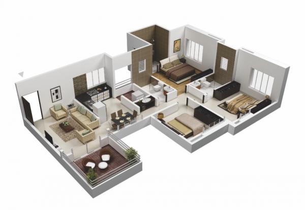 30 Denah Rumah Minimalis 3 Kamar Tidur 3d Terbaru 2020 Dyp Im